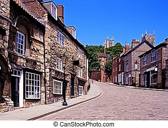 Steep Hill in Lincoln, UK - View along Steep Hill, Lincoln,...