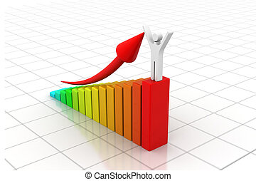 Man with business statistic graph
