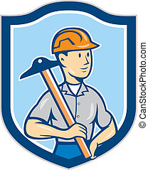 Engineer Architect T-Square Shield Cartoon - Illustration of...