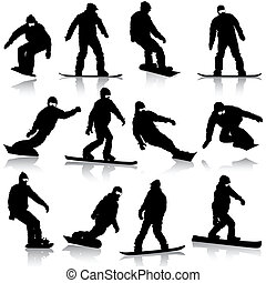 Black silhouettes set snowboarders on white background....