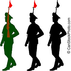 Silhouette soldiers during a military parade. Vector illustratio