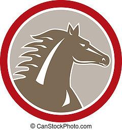 Horse Head Circle Retro