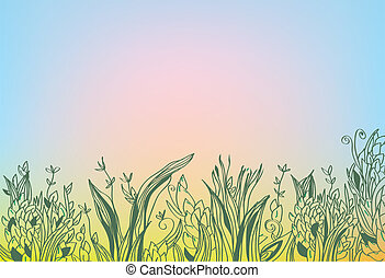 Autumn background with grass and glow abstract design
