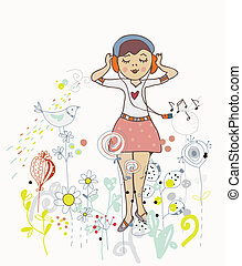 Poster of girl listening to the music with flowers, birds...