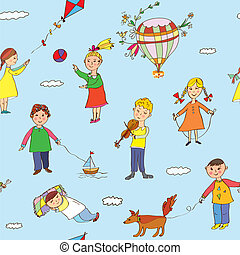 Seamless pattern with kids playing -  funny design