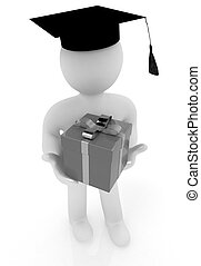 3d man in graduation hat with gift on a white background