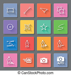 Functions - Set of flat square icons with functions on the...