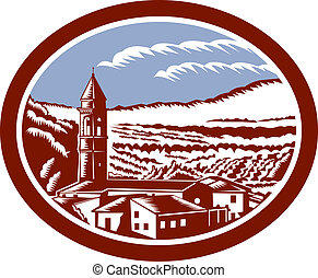 Church Belfry Tower Tuscany Italy Wopodcut - Illustration of...