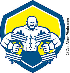 Bodybuilder Lifting Dumbbell Shield Retro