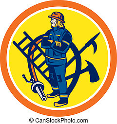 Fireman Firefighter Fire Hose Ladder Circle - Illustration...