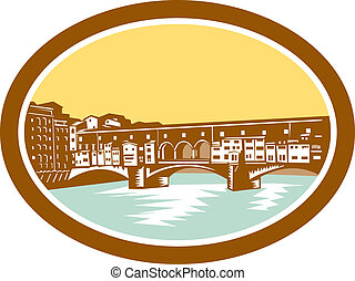 Arch Bridge Ponte Vecchio Florence Woodcut - Illustration of...