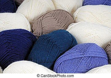Coloured balls of wool.