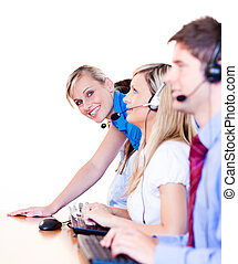 Businessteam in a call center