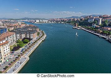 Portugalete and Sestao towns from Bizkaia suspension bridge...