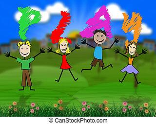 gra, dzieciaki, środki, wolny, dziecko, czas