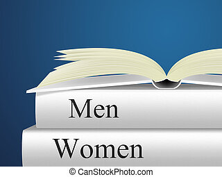 Women Books Means Woman Fiction And Lady - Women Man Showing...
