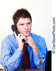 Serious businessman talking on the phone - Businessman...