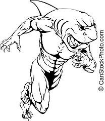 Shark sports mascot running - A shark man character or...