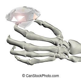 skeletal hand with big diamond