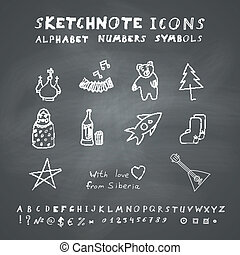 Doodle Russian Icons, Alphabet and Symbols Set Vector set on...