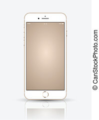 Gold smartphone mock up. - realistic smartphone mock up.