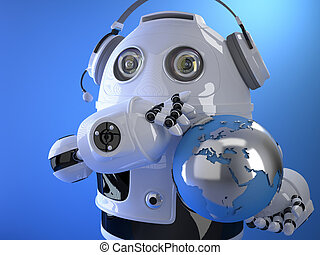Robot operator in headset with globe. Globall support concept. C