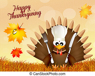 Turkey forThanksgiving day - illustration of turkey...