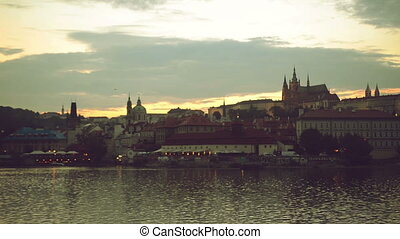 Night panorama of Prague city, Czech Republic with Castle...