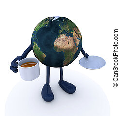 planet earth with arms and legs and cup of coffee, 3d...