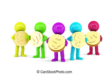 Group of coloured 3d people holding coins. Isolated....
