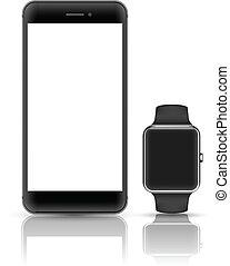 Vector smartphone mock up. - Smartphone and smart watch...