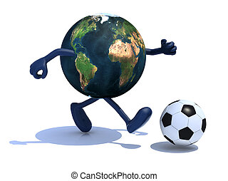 earth with arms and legs run away to soccer ball - planet...