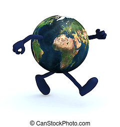 earth with arms and legs running, 3d illustration