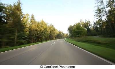 POV Onboard-Camera on a rural road - Video footage of...