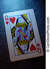 Queen of hearts card close up