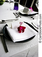 Table setting - Formal table setting at a wedding reception.
