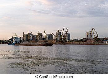 a, barcaça, poluído, Rio