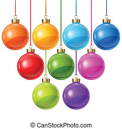 Christmas balls isolated on white for design.