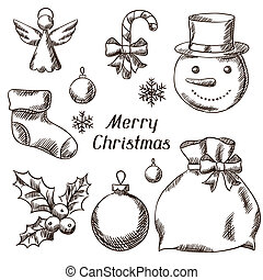 Set of Merry Christmas hand drawn icons and objects