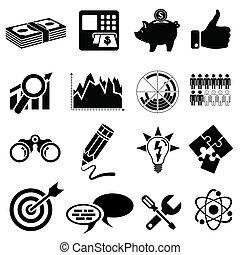 Business Icon Set - Finance, Strategy, Idea, Research,...