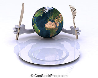 the world with hands and utensils in front of an empty plate