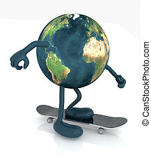 planet earth with arms and legs on skateboard, 3d...