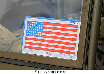 Sticker on Army American car - Sticker on the windshield of...