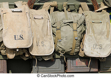 Old American army bags