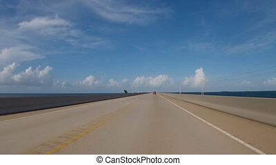 Driving on bridge in Florida - Panoramic time-lapse