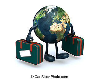 earth with arms and legs that take a suitcase, 3d...