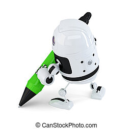 Robot writing with marker pen. Isolated. Contains clipping path