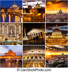 Photo collage from Rome, Italy. Collage includes major landmarks