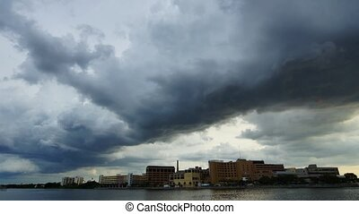 Storm clouds in the city - Panoramic time-lapse of storm...