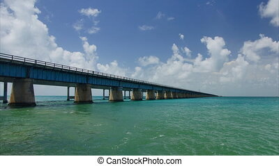 New seven miles bridge in Florida - Panoramic wide-angle...